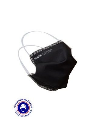 MASQUE GRAND PUBLIC HC-SPORT 1 CATEGORIE 2 – HEXAGONE CONFECTION NOIR – ELASTIQUES TÊTE