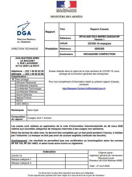 Rapport DGA Masques « GRAND PUBLIC » catégorie 1 - HC-H0 Ga Hexagone Confection