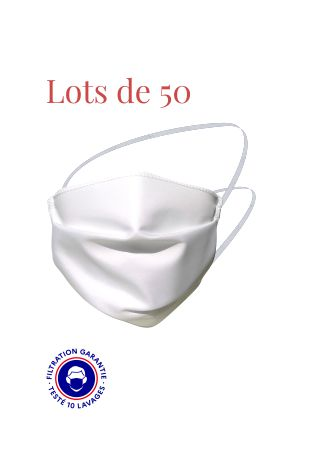 Masque de protection Covid-19 monocouche catégorie 1 blanc simple face par lots de 50