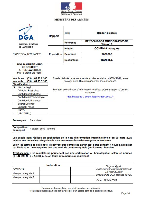 Rapport DGA Masques « GRAND PUBLIC » catégorie 1 - HC-SPORT 1 Hexagone Confection