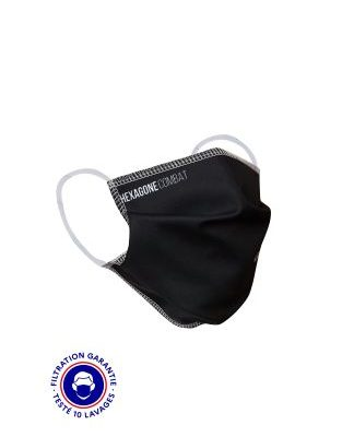 MASQUE GRAND PUBLIC HC-SPORT 1 CATEGORIE 2 – HEXAGONE CONFECTION NOIR – ELASTIQUES OREILLES